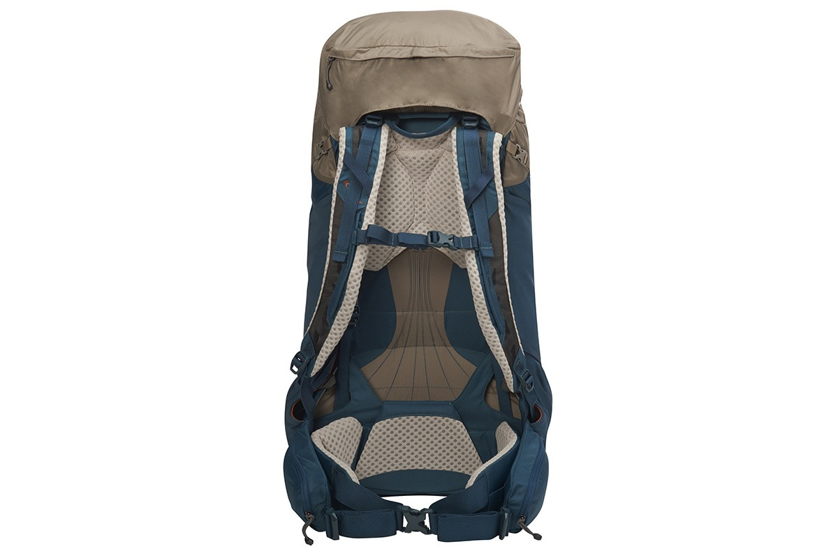 Kelty Zyro 68 backpack,  Fallen Rock/Reflecting Pond, rear view, showing padded shoulder straps and waist belt