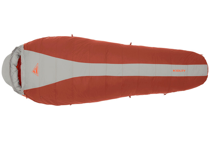 Kelty Cosmic 0 sleeping bag, red with gray stripe, fully closed