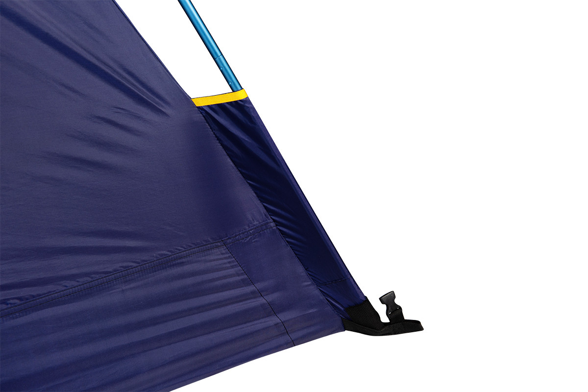 Close up of Kelty Ranger Doug 2 Person Tent, showing tent pole inserted into pole sleeve at the bottom corner of tent