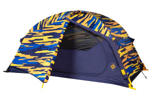 Kelty Ranger Doug 2 Person Tent, blue, shown with blue/orange camouflage pattern rain fly attached and partially opened