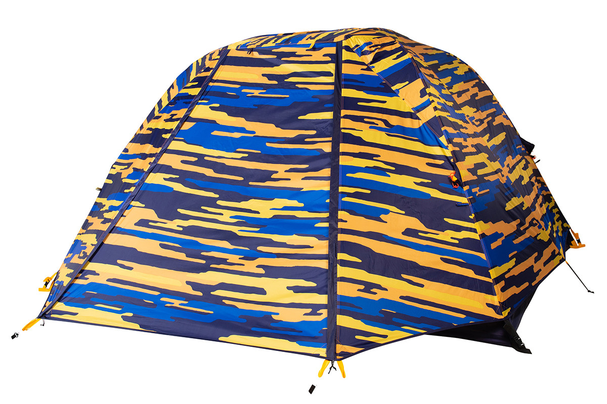 Kelty Ranger Doug 4 Person Tent, blue, shown with blue/orange camouflage pattern rain fly attached and fully closed