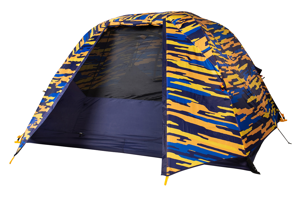 Kelty Ranger Doug 4 Person Tent, blue, shown with blue/orange camouflage pattern rain fly attached and partially opened
