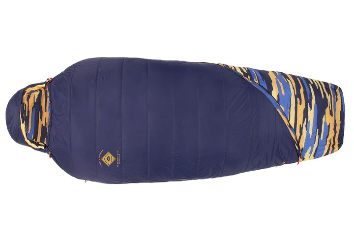 Kelty Ranger Doug 30 sleeping bag, blue with blue/orange camouflage pattern, shown fully closed