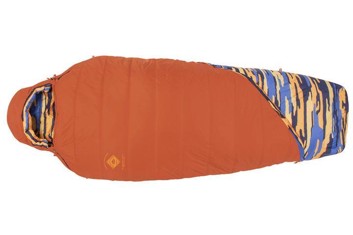 Kelty Women's Ranger Doug 30 sleeping bag, bright orange, fully zipped