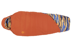 Kelty Women's Ranger Doug 30 sleeping bag, bright orange, fully zipped