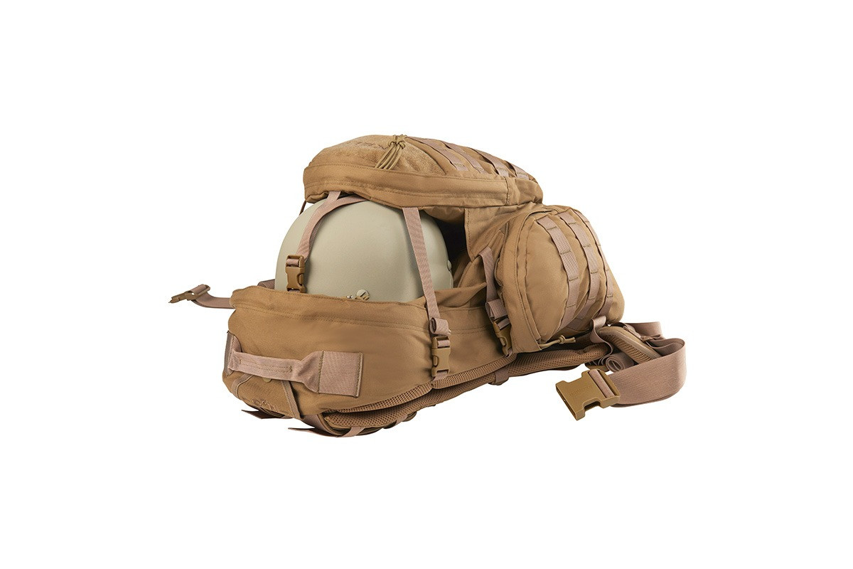 Strike 2300 USA backpack, Coyote Brown, showing how helmet can be stored between the front pocket and the main body of pack