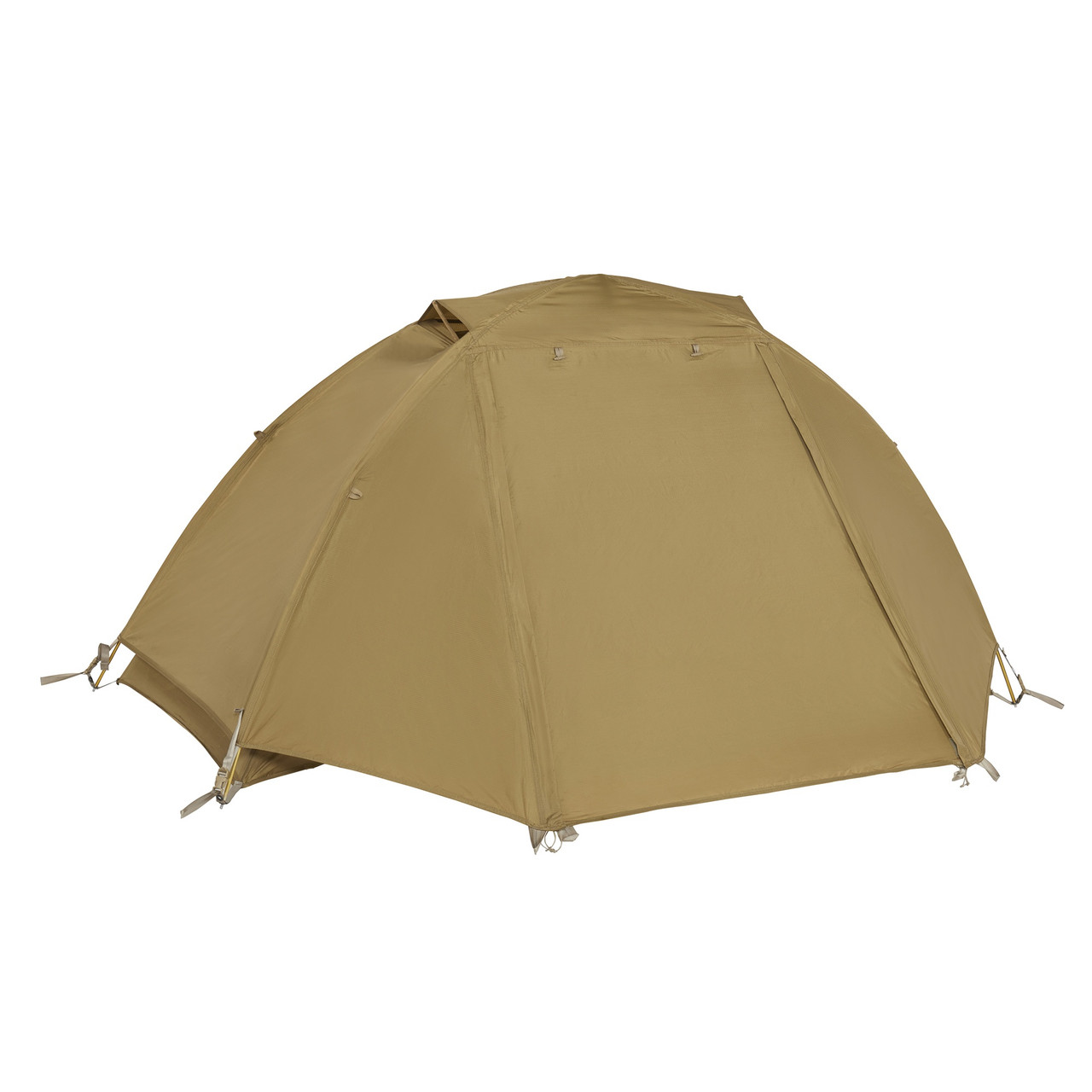 Kelty 2 Man Field Tent Import tent, brown, shown with rain fly attached and fully zipped