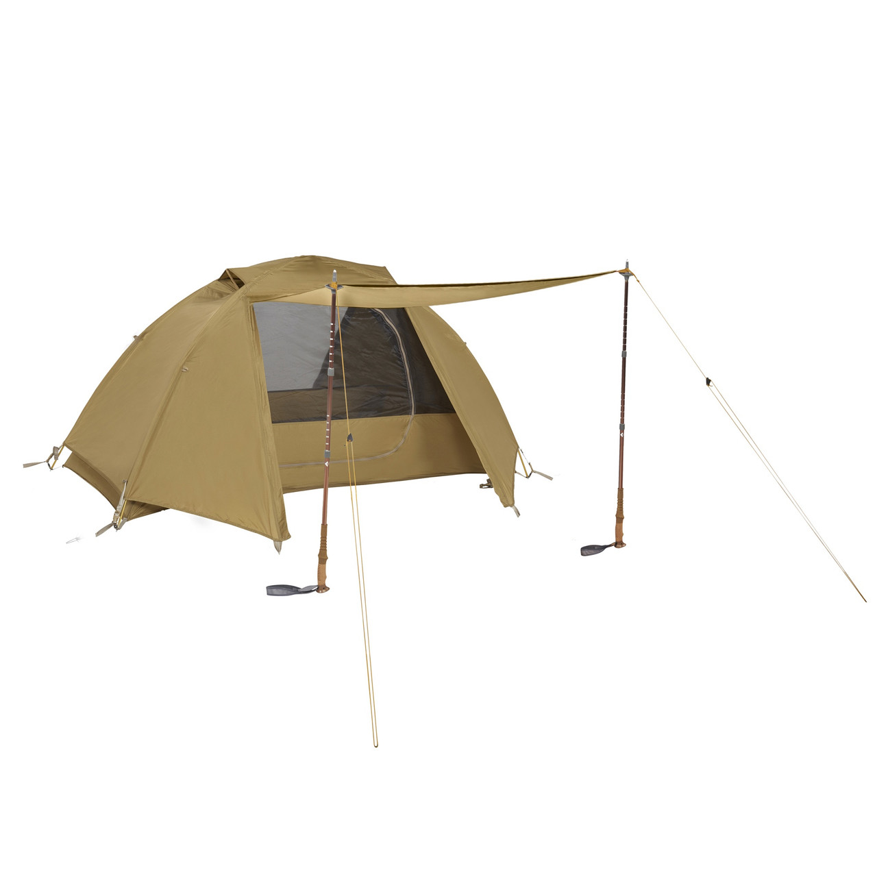 Kelty 2 Man Field Tent Import tent, brown, shown with rain fly attached and unzipped, and awning deployed with 2 trekking poles