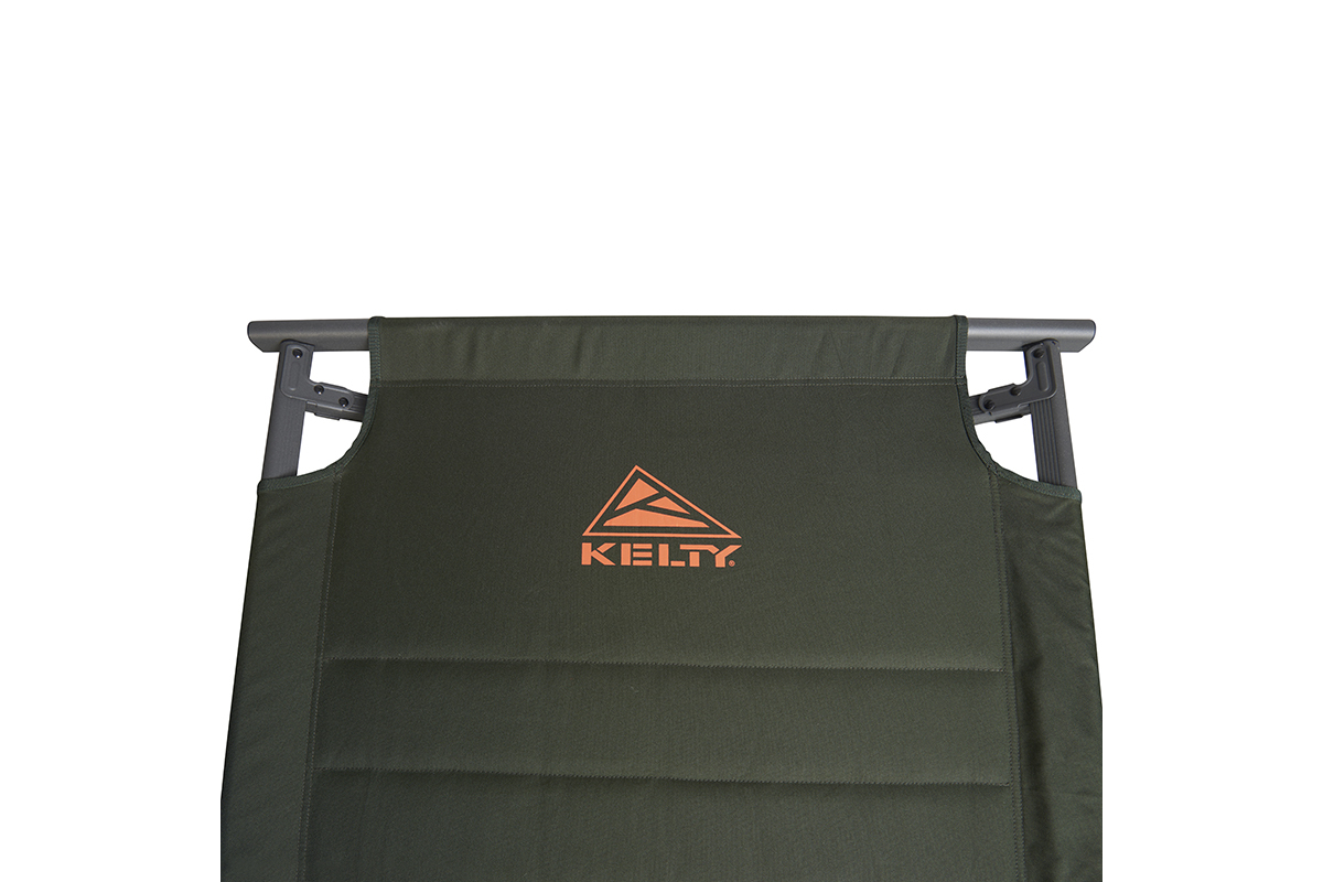 Close up of Kelty Discovery High Cot, dark olive green, showing orange Kelty logo