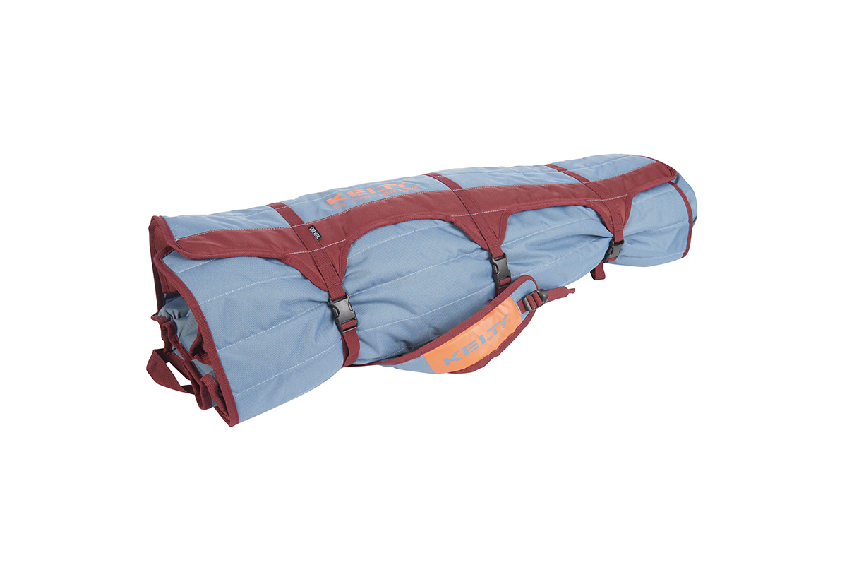 Kelty Discovery Low-Love 2-person chair, blue/red, packed inside storage tote, fully buckled
