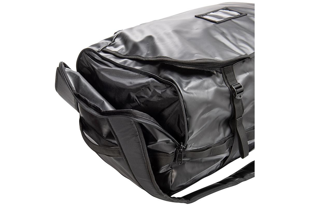 Close up of Kelty water resistant duffel, showing side pocket unzipped