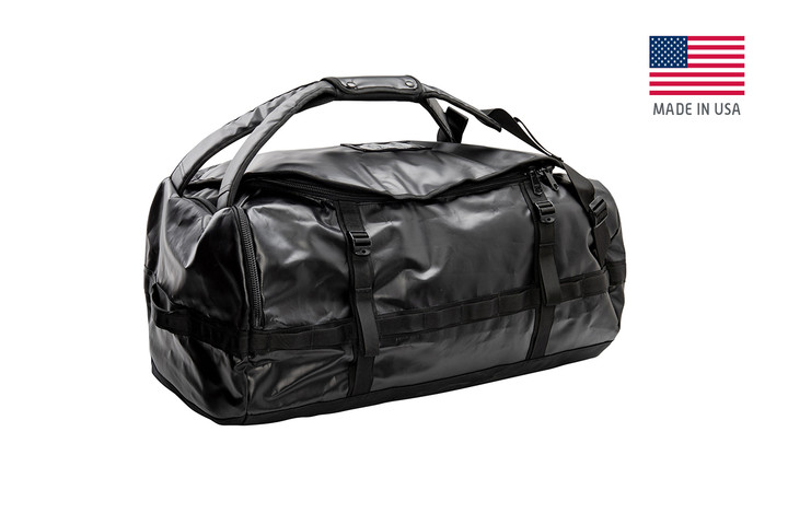 Kelty water resistant duffel, black, front view, closed