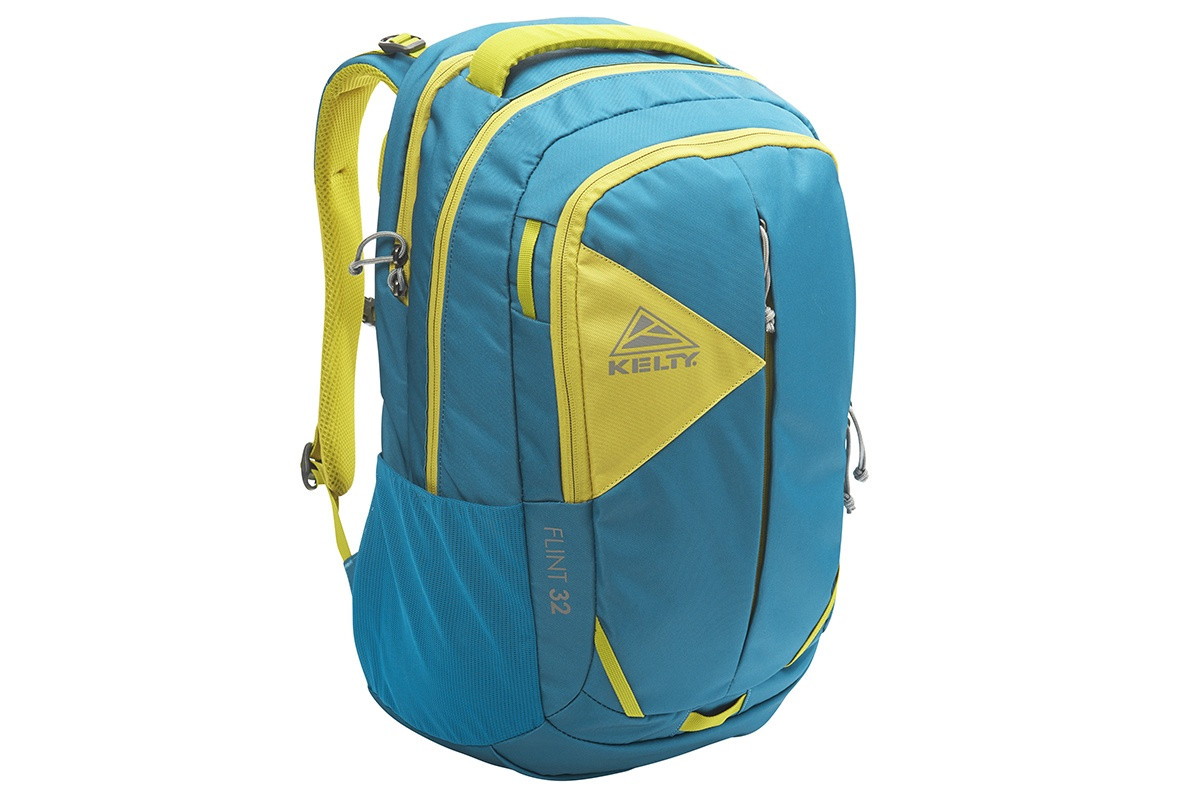 Kelty Flint 32 daypack, Lyons Blue/Warm Olive, front view