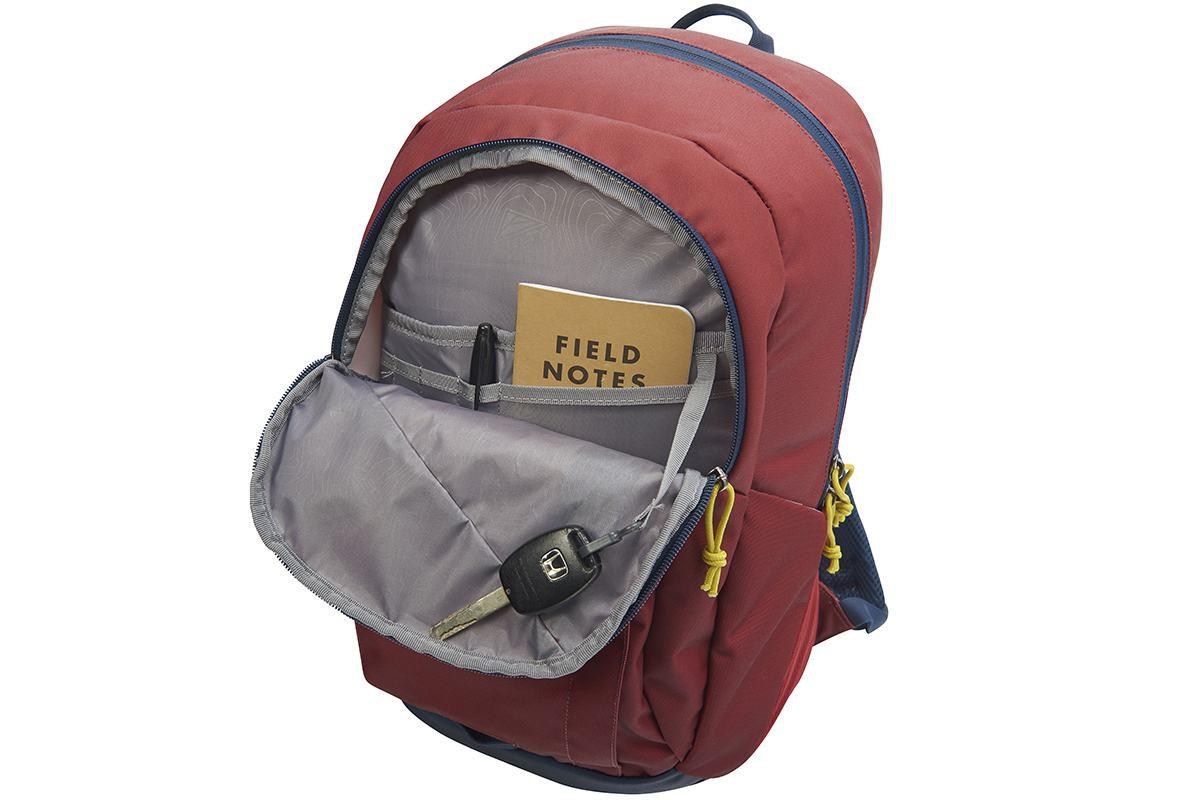 Kelty Quartz 33 Daypack, Red Ochre/Midnight Navy, opened to show internal organization pocket