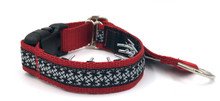 "Pinwheels on Red 1"" Private Prong Collar"