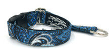 "Blue and Black Paisley 1"" Private Prong Collar"