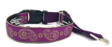 "Magenta and Lime Paisley 1"" Private Prong Collar"