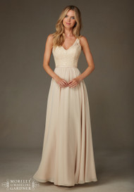 Mori Lee 122. Beaded lace with chiffon and satin trim dress.  Available in all Mori Lee Solid Lace Bridesmaids colors.