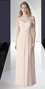 DZAGE 8111.  Chiffon spaghetti strap gown with draped off-the-shoulder sleeves. Criss-cross dropped waist ruched bodice. Soft front gathers adorn the A-line skirt. Available in all Chiffon Colors.