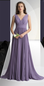 DZAGE 8121.   Chiffon gown with a V-neck surplice top and deep V back. Bodice adorned with soft pleats and gathers. Pleated cummerbund accents the waist. Accordion pleated A-line skirt. Available in all Chiffon Colors.