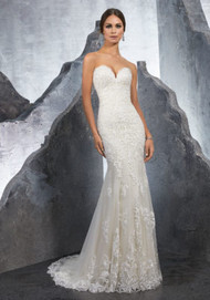 "Mori Lee 5615.  Frosted, Embroidered Medallions and Appliqus Accent This Net Fit and Flare Wedding Dress. A Deep Sweetheart Neckline and Wide Scalloped Hemline Complete the Look. Available in Three Lengths: 55"", 58"", 61"". Colors Available: White, Ivory, Ivory/Champagne."