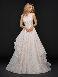Hayley Paige Reagan 6755.  Sandwashed orchid caviar bridal ball gown, illusion jewel neckline with sweetheart lining and modern strap detail at back, full floral skirt with layered ivory organza.
