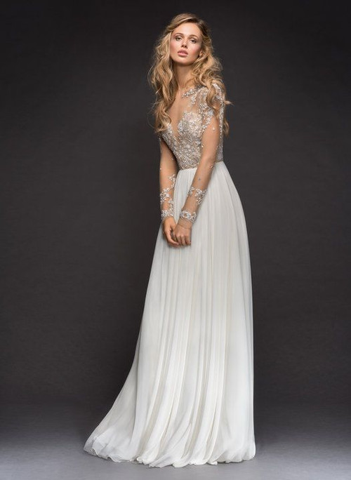 Hayley Paige Pascal 6807.  Hayley Paige bridal gown - Ivory chiffon A-line bridal gown, long sleeve illusion bodice with metallic floral micro beading, bateau illusion neckline and fully beaded back.