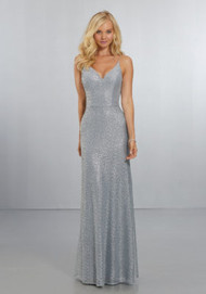Mori Lee 21555.  Exquisite Caviar Mesh Gown with Spaghetti Straps on the V-Neck, Scoop Back A-Line Gown with Back Zipper. View Caviar Mesh Swatch Card for Color Options. Shown in Silver.