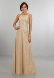 Mori Lee 21564.  Exquisite, Caviar Mesh A-Line Gown with Halter Neckline and Scoop Back with Zipper. View Caviar Mesh Swatch Card for Color Options. Shown in Gold.