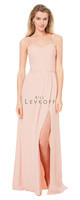 Bill Levkoff 1518.  Hamlet Crepe gown with a sweetheart neckline and double spaghetti straps. Asymmetrical pleats adorn the bodice. Off-center high slit adorn the slight A-line skirt. Available in: White, Champagne, Petal Pink, Slate, Wine, Plum, Navy, and Black.