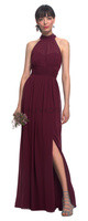 LVK 7019.  Chiffon high neck halter top gown with a self tie at the neck and a keyhole back. Illusion top over a sweetheart neckline. Ruched cummerbund at the natural waist. Soft gathers surround the A-line skirt. Available in all Bill Levkoff Chiffon Colors.