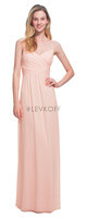 LVK 7020.  Chiffon spaghetti strap V-neck gown. Criss-cross pleats adorn the bodice. Spaghetti straps form an X back. Soft front gathers adorn the skirt. Available in all Bill Levkoff Chiffon Colors.
