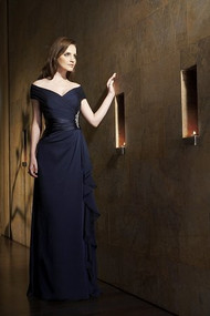 Jasmine 1161.  Long Portrait Neckline Chiffon & Charmeuse MOB Dress. Available in: Tiffany Ciffon Colors. Shown in Navy.