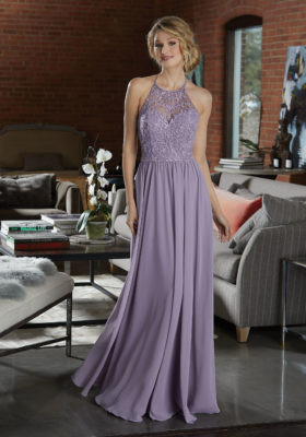 bdeb475689a52 Chiffon Bridesmaid Dress Featuring a High Neck, Net Bodice Accented in