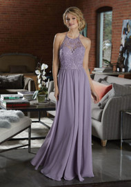 Mori Lee 21589.  Chiffon Bridesmaid Dress Featuring a High Neck, Net Bodice Accented in Beaded Embroidery. A Flowy Chiffon Skirt and Beaded Strappy Back Complete the Look. View the Chiffon Swatch Card for Color Options. Shown in French Lilac.