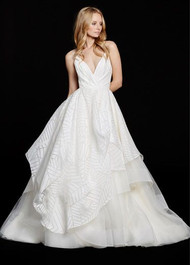 Hayley Paige 6550 Behati.  Ivory geometric organza bridal ball gown, draped V-neck bodice and Moroccan beaded back, full skirt with pick up detail and tiered tulle underlay. Available in Nude, Nude with Blush lining; also avialable without the sparkle tulle lining.