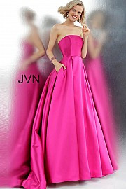 JVN 62633.  Strapless Pleated Skirt Prom Ballgown. Available in: fuschia.