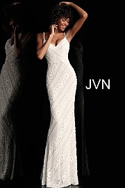 JVN 62488.  Fitted Spaghetti Straps Prom Dress. Wvailable in: ivory or navy.