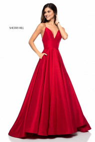 Sherri Hill 51822.  Taffeta A-line gown with V-neck bodice. Available in: Red, Emerald, Navy, Black, Ivory, and Wine.