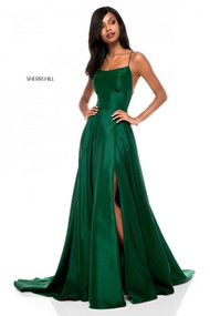 Sherri Hill 52022.  Taffeta lace-up back with A-line skirt. Available in: Navy, Emerald, Black, Red, Wine.