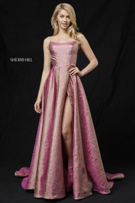 Sherri Hill 52140.  Glitter gown with lace up back and slit skirt. Available in: Rose-Gold.