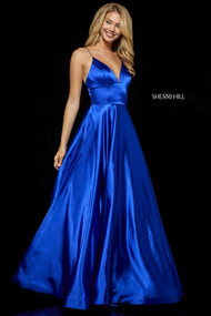 Sherri Hill 52195.  Charmeuse gown with V-neck bodice. Available in: Dark royal, Turquoise, Emerald, Fuchsia, Wine, Red, Gold, Mocha, Black, Teal.