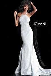 Jovani 65416.  Criss Cross Back Sleeveless Prom Dress. Available in: berry, black/multi, blush, fuchsia, gunmetal, jade, mauve, navy, ocean, peacock, red, royal, soft blue/silver, white, wine.