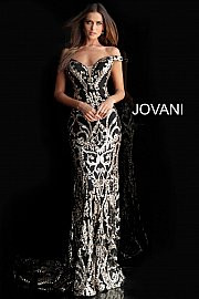 Jovani 63349.  Black Gold Off the Shoulder Embellished Prom Dress. Available only in black/gold.