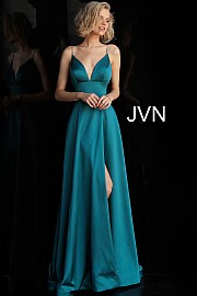 JVN 68314. Plunging V Neck Embellished Straps A Line Prom Dress. Available in: Teal and Red.