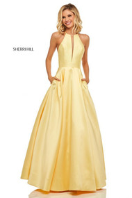 Sherri Hill 52583.  High Neck Ball Gown with Pockets.  Available in: Yellow, Lilac, Light blue, Pink, Red.