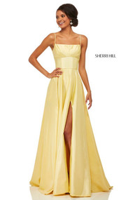 Sherri Hill 52602. Double Spaghetti Strap Prom Gown. Available in: Blush, Yellow, Purple, Red, Ivory, Bright pink, Emerald, Navy, Royal.
