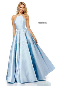 Sherri Hill 52501.  Ball Gown with Beaded Skirt and Pockets. Available in: Light blue, Ivory, Blush, Yellow.