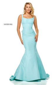 Sherri Hill 52465.  Twill Chiffon Mermaid Gown with Ruffled Train. Available in: Aqua, Lilac, Light blue, Yellow, Red.