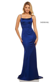 Sherri Hill 52613.  Silky Sheath with Lace Up Back. Available in: Ruby, Royal, Black, Blush, Teal, Mocha, Navy, Emerald, Red, Raspberry.